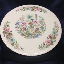 "AYNSLEY ENGLAND WILD TUDOR CAKE PLATE 10 1/2"" ROSES THISTLES FLOWERS GOLD TRIM"