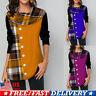 Women Ladies Plaid Checks T-shirt Loose Raglan Long Sleeve Blouse Tunic Tops US