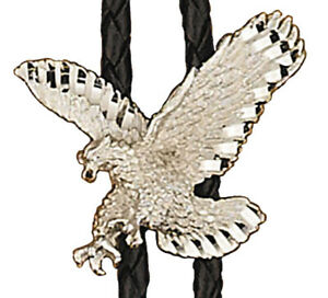 """NWT Silver Eagle Bolo Tie Adjustable 36"""" Cord USA Made Western Silver Plated"""