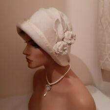 cream ivory felt cloche hat wedding