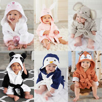 Cute Baby Bath Towel Coral Fleece Blanket Infant Hooded Wrap Bathrobe Animal