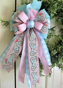 BICYCLE BOW WIRED RIBBON / DOOR WREATH MAILBOX SWAG FENCE # 174 rb