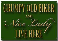 L A3 Größe Grumpy Old Biker und Nette Dame Metall Schild, Motorrad, Heim, Humor