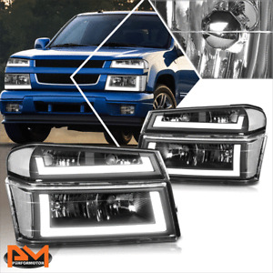 For 04-12 Chevy Colorado LED DRL Bumper Headlight/lamp Black Housing Clear Side