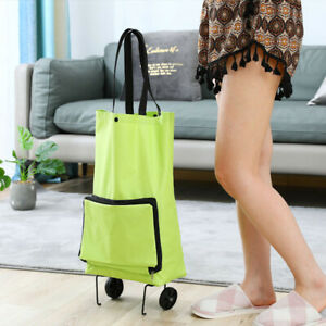 Foldable Rolling Supermarket Shopping Cart Bag With Wheels Reusable Portable