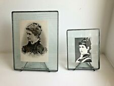 Vintage Pair of Bedford Downing Glass with metal stand picture frames