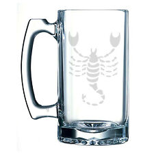 Scorpio Zodiac Symbol Silhouette 8th Sign Scorpion Etched 25 oz Glass Beer Stein