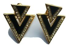 Vintage Retro Geometric Rhinestone Gold Tone Clip Earrings