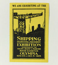 Poster Stamp Shipping Engineering Machinery Exhibition 1925 Olympia Yacht Boat