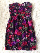 Asos black floral vintage style bandeau dress UK 6