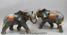 "14"" Rare Palace Chinese Cloisonne Enamel Bronze FengShui Elephant Statue Pair"