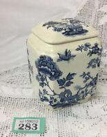 Masons Storage Jar / Pot / Tea-caddy With lid pattern MANCHU Blue / Cream Colour