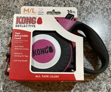 New KONG Tape Retractable Leash 16 ft - For Medium/Large Dogs - pink Reflective