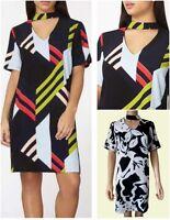 NEW Ex Dorothy Perkins Choker Dress Multi Black White Summer Party 10 - 18