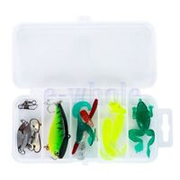 15pcs Fischen lockt Haken Crankbaits Köder Minnow Tackle Bass Box Soft Kit GE