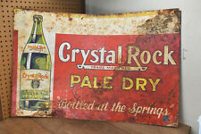 Vintage Crystal Rock Ginger Ale Advertising Metal Sign Original Soda Reading Pa