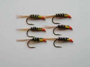 6 x Sunburst Diawl Bach Wet Hot Head Trout Fly Fishing Quality Flies Sizes 10 12