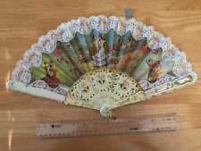 Vintage Signed Victorian Style Hand-Painted European Lace Fabric Lady's Hand Fan