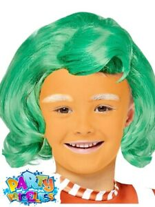 Kids Oompa Loompa Wig Willy Wonka Chocolate Factory Fancy Dress Outfit Accessory