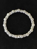 Vintage Sterling Silver Marcasite Tennis Bracelet Circle Square Links Box Clasp