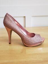 RAMPAGE Gracee pink  Sparkle Glitter Peep Toe Platform High Heels Shoes 10 B
