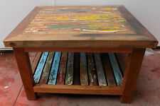 Small table coffee smoke industiral wooden teak recycled from boats cm 60x70x45