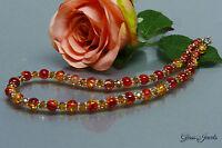 Glass Jewels Silber Kette Halskette Collier Elegant Rotgold, Gelb   #A033