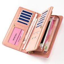 Women Gold Long Leather Zip Party Fashion Phone ID Card Wallet Handbag Purse
