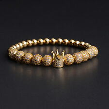 Gorgeous Men's 24kt Gold Plated Zircon Crown Luxury Braided Macrame Bracelets