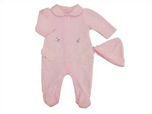BNWT  baby girls Spanish swan embroidery & lace sleepsuit & hat NB 0-3m 3-6 mths