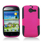 For Huawei Ascend Y H866C MESH Hybrid Silicone Rubber Skin Case Cover Hot Pink