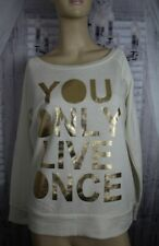 PARISIAN sweat top top size L cream with gold lettering YOLO wide neck