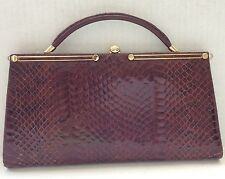 Clutch hand bag snake skin Italian made Vintage classic Clutch rust brown color