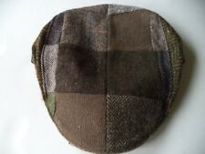 M Irish Hanna Hat touring cap tweed wool patch work brown green Medium 7 1/4