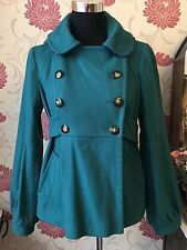 Topshop Green Winter Hooded Coat Size 10