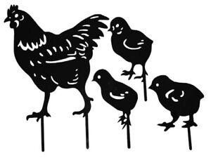 ❤Hen Chicken Yard Art Decorative Garden Stakes Metal Art Rooster Metal Anim