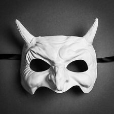 Goblin Devil Mask with Horn Demon Costume Masquerade for Halloween Party - White