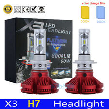 2x H7 LED Headlight Conversion Kit Car 48W 12000LM Bulbs 6K With 3K 8K Films