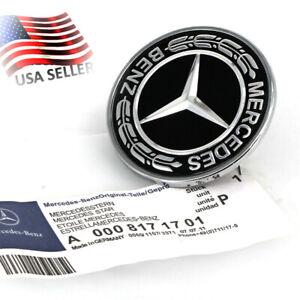 New OEM Black Standing Star Conversion Flat Mount Hood Emblem For Mercedes S,E,C
