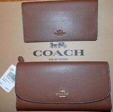 NWT Coach F16613 SADDLE 2 Pebbled Leather Checkbook Wallet $250 FREE SHIPPING!