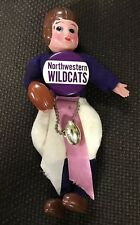 Vintage Northwestern Wildcats 1940-1950s Football Doll with Pin Pinback Japan !