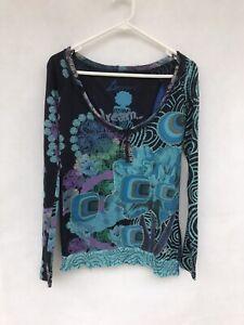 🍃 Womens Desigual Scoop Neck Long Sleeve Applique Print T-Shirt Top Size S