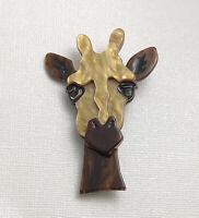 Unique Giraffe face Pin Brooch In acrylic