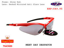 c1 RayZor Uv400 Red Framed Smoked Mirrored Lens Cycling Wrap Sunglasses RRP£49