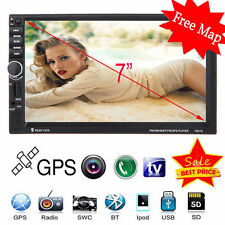 "7"" Hd Touch Screen Double 2 Din Car Gps Stereo Dvd Player Bluetooth Radio+ Map"