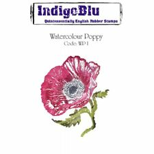 WATERCOLOUR POPPY - A6 Mounted & Machine Trimmed Rubber Stamp - INDIGOBLU