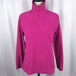 Columbia 1/4 Zip Pullover Fleece Top Womens Small Magenta Purple Pink Mock Neck