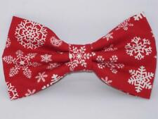 Christmas Bow tie / White Snowflakes on Red / Holiday Red / Pre-tied Bow tie