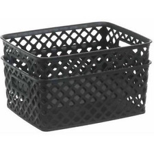 2 Black Small Woven Plastic Bins Home Shelf Storage Organizer Container Baskets