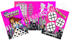 Pack of 12 - Girls Superhero Fun and Games Activity Sheets - Party Bag Fillers